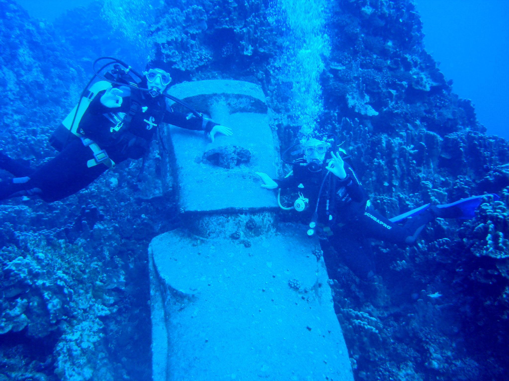 This underwater moai is a leftover from the 1995 film Waterworld. Credit: Turismo Chile