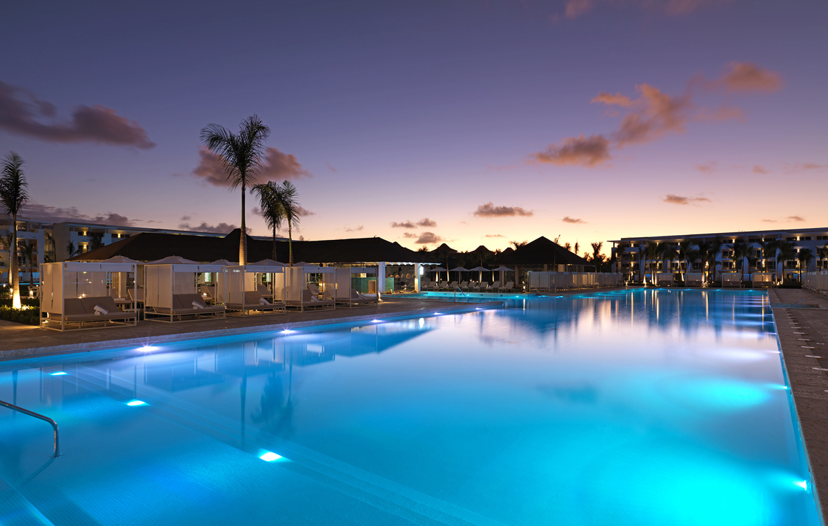 The Grand Reserve's main pool at night