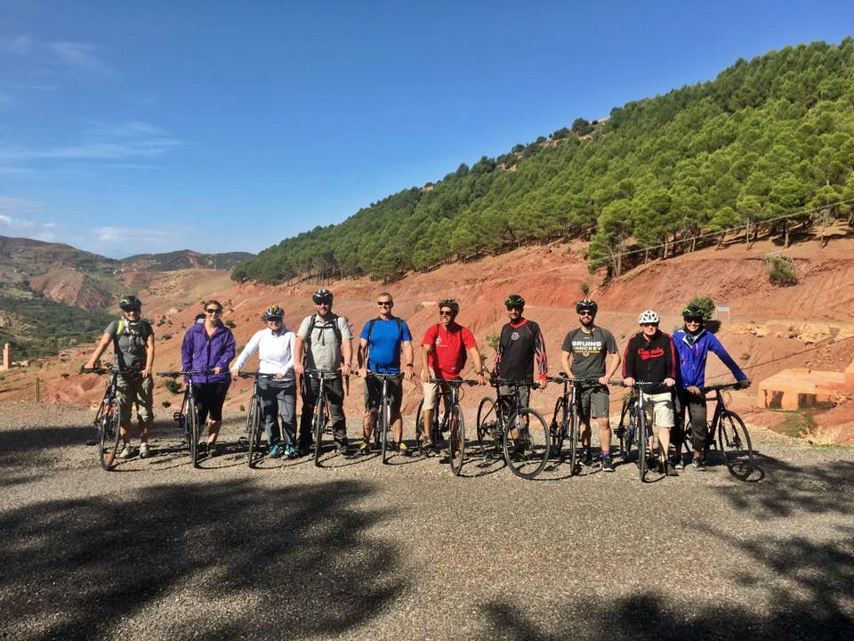 A good looking group! We set out on a 25-kilometre mountain bike ride through the Atlas Mountains. Photo: Christine Hogg for PAX Global Media