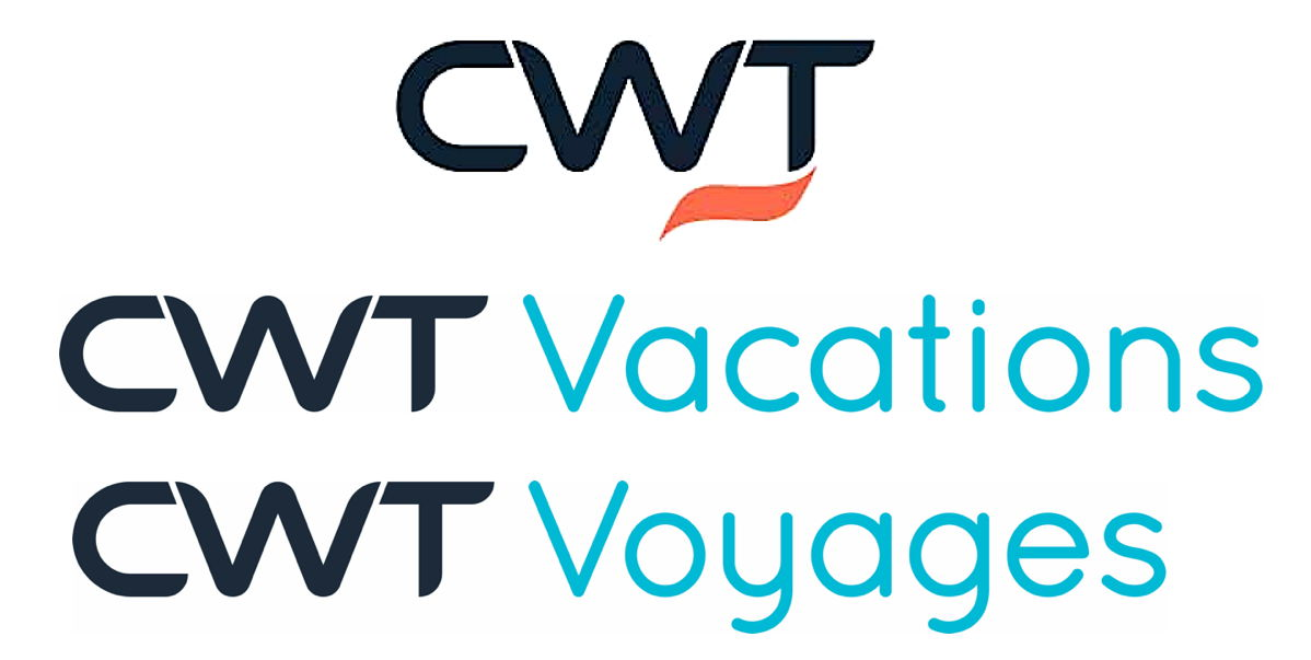 CWT's global corporate logo (top) was unveiled earlier this year; the company's new logos for English & French leisure incorporate
