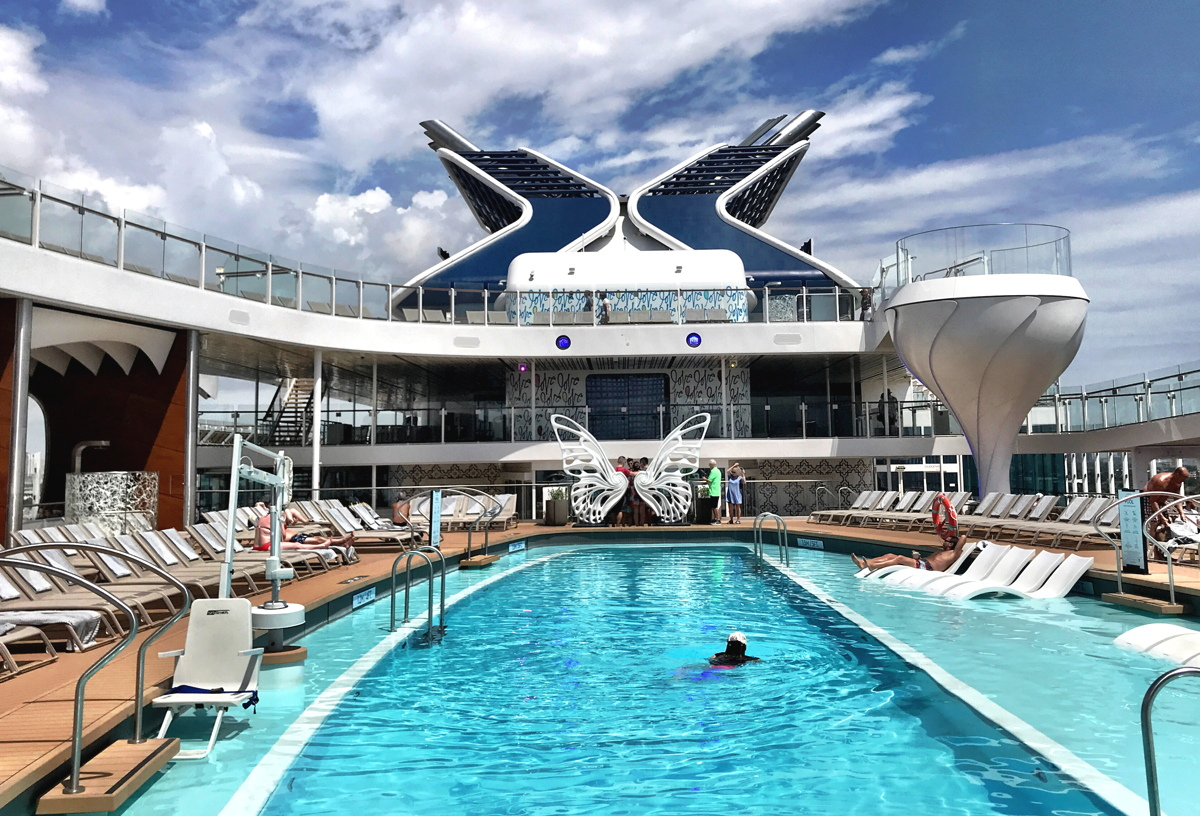 Celebrity Edge has martini glass-shaped hot tubs that measure two-storeys high.