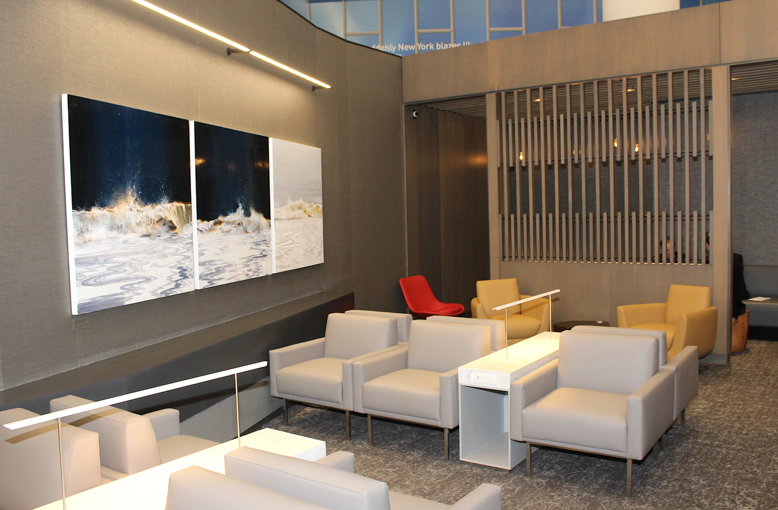 The lounge was designed by global design firm HOK, which also designed LaGuardia's new concourse in Terminal B.