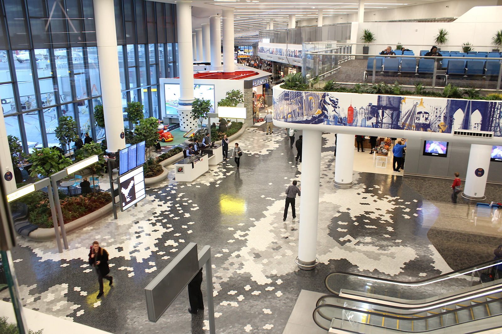 BIG FACELIFT. The new concourse at LaGuardia Airport's Terminal B (above) opened this past Saturday.
