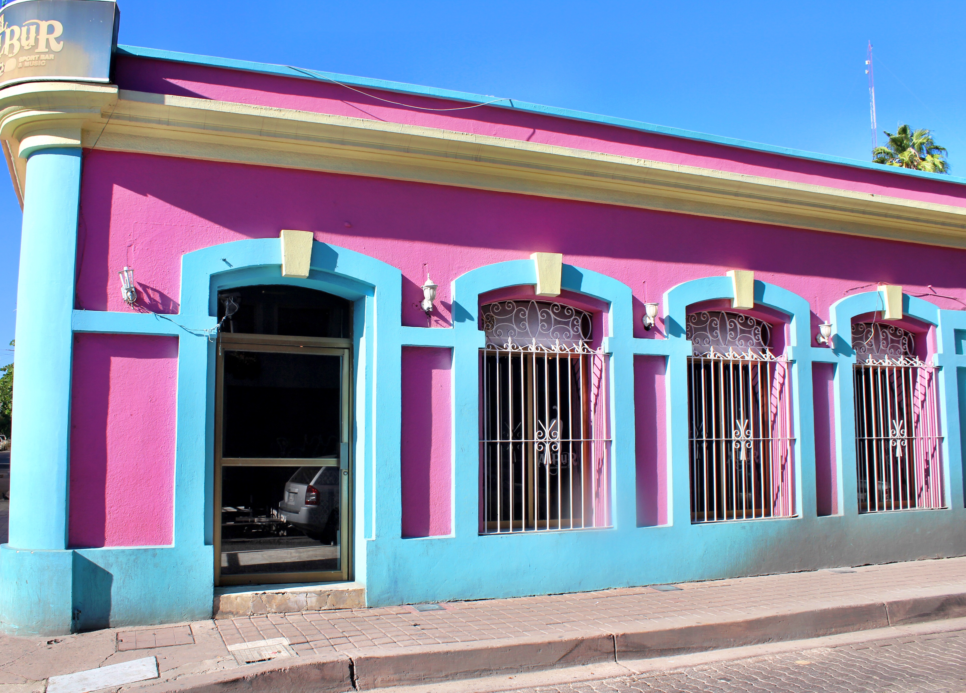 Bright and bold buildings in Old Town Mazatlán.