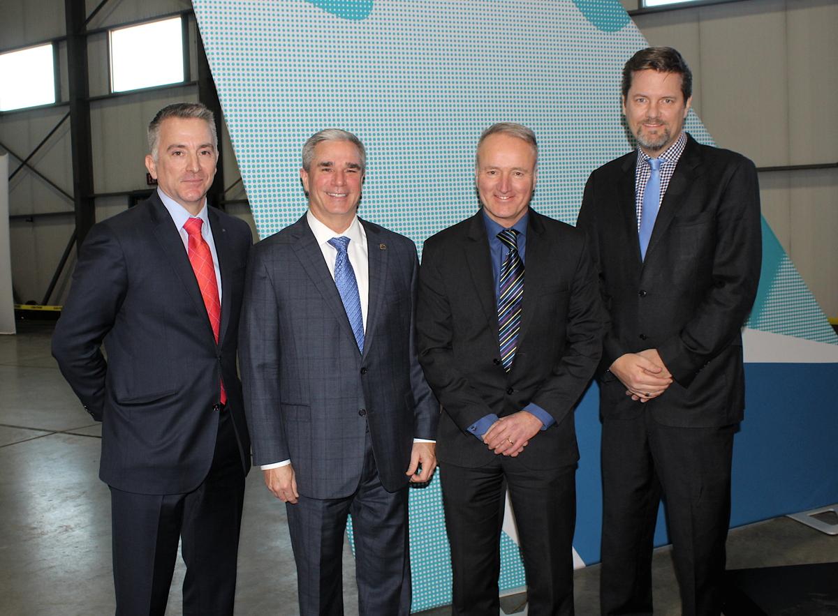 From left: WestJet's Louis Saint-Cyr, Jeff Martin, Ed Sims, and Arved von zur Muehlen