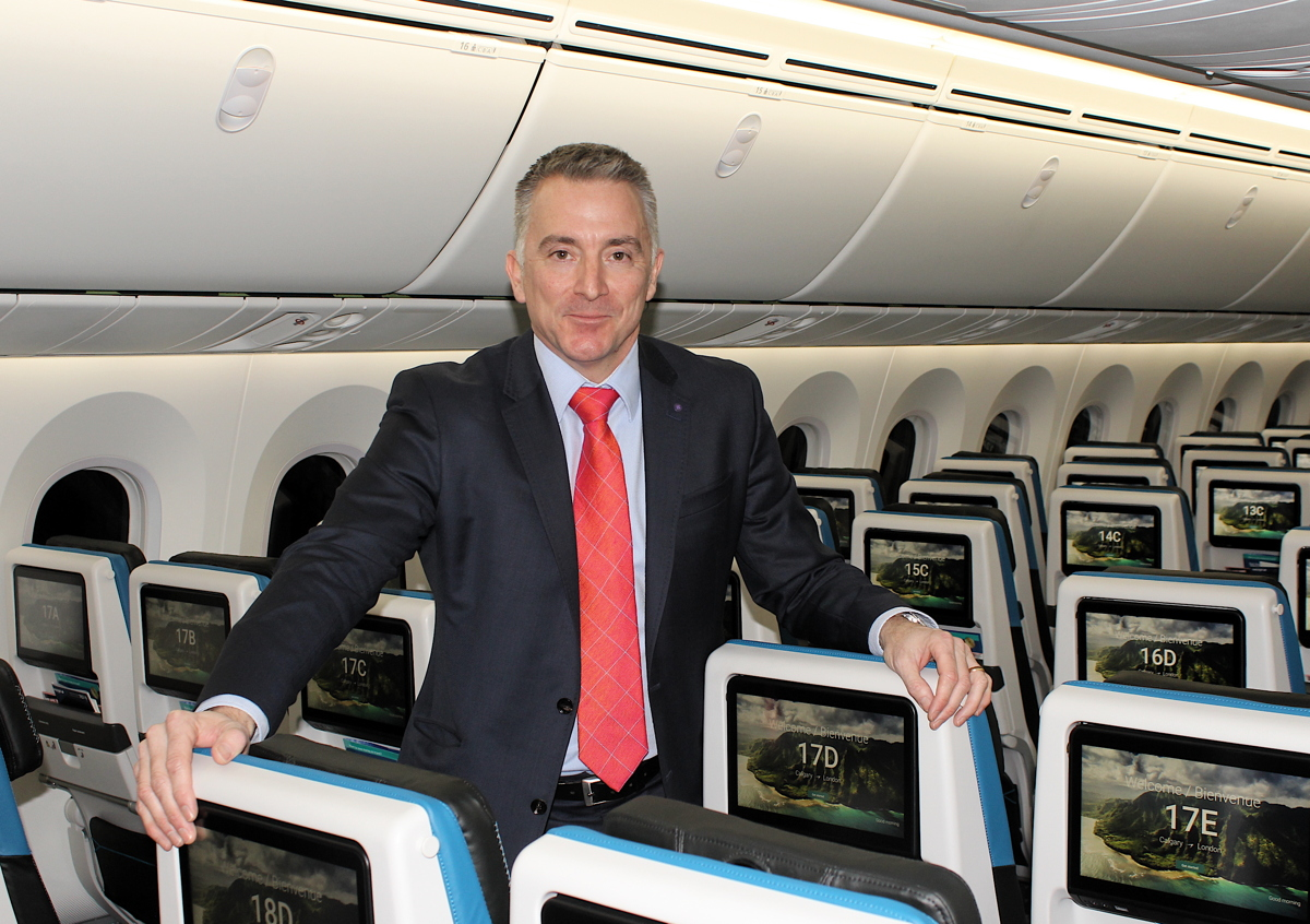 """""""We have literally re-thought our product,"""" said Louis Saint-Cyr, WestJet's vice president of guest experience and in-flight operations."""
