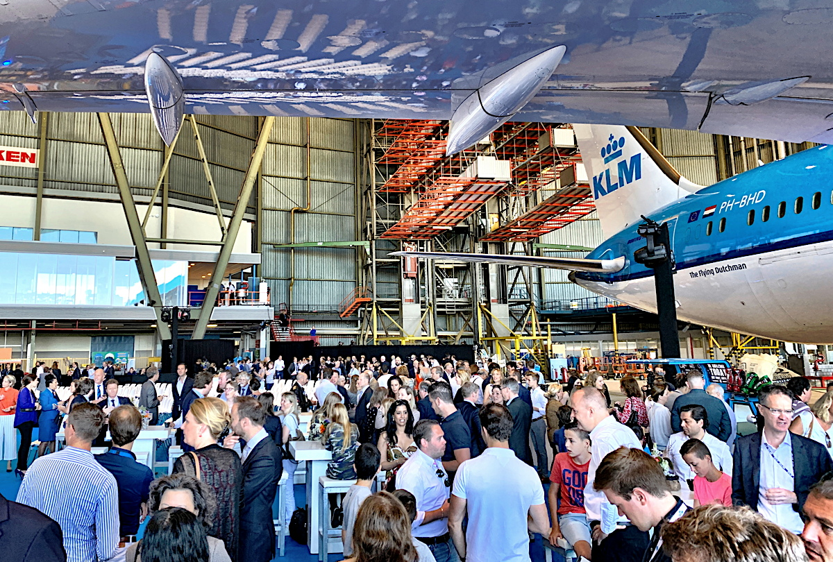 HANGAR PARTY. Guests gather in Hangar 12 for KLM's 100th anniversary kick-off event at Schiphol Airport.