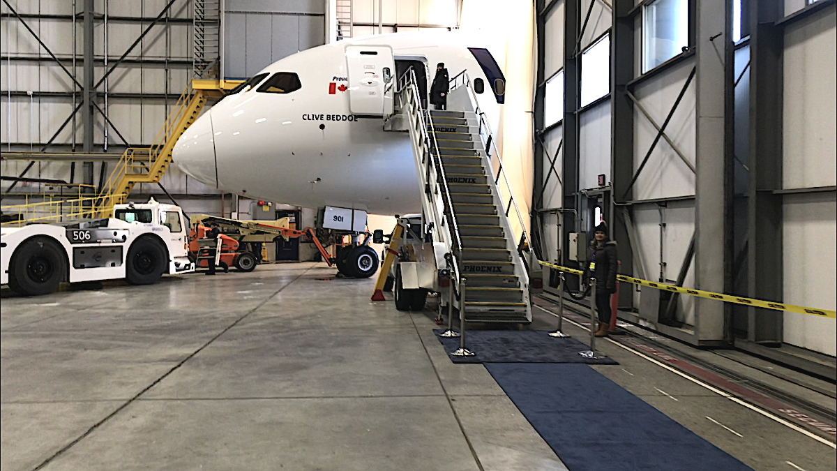 TIGHT FIT. WestJet's new 787-9 Dreamliner awaits guests in the Calgary hangar at WestJet headquarters.