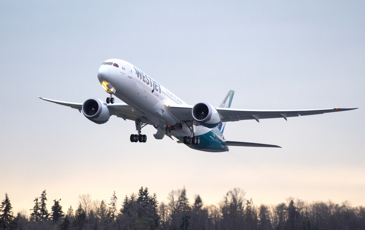 SMOOTH RIDE. Fuel efficiency and turbulence-controlling technology are just some features on WestJet's new Dreamliner. Photo courtesy of Boeing.
