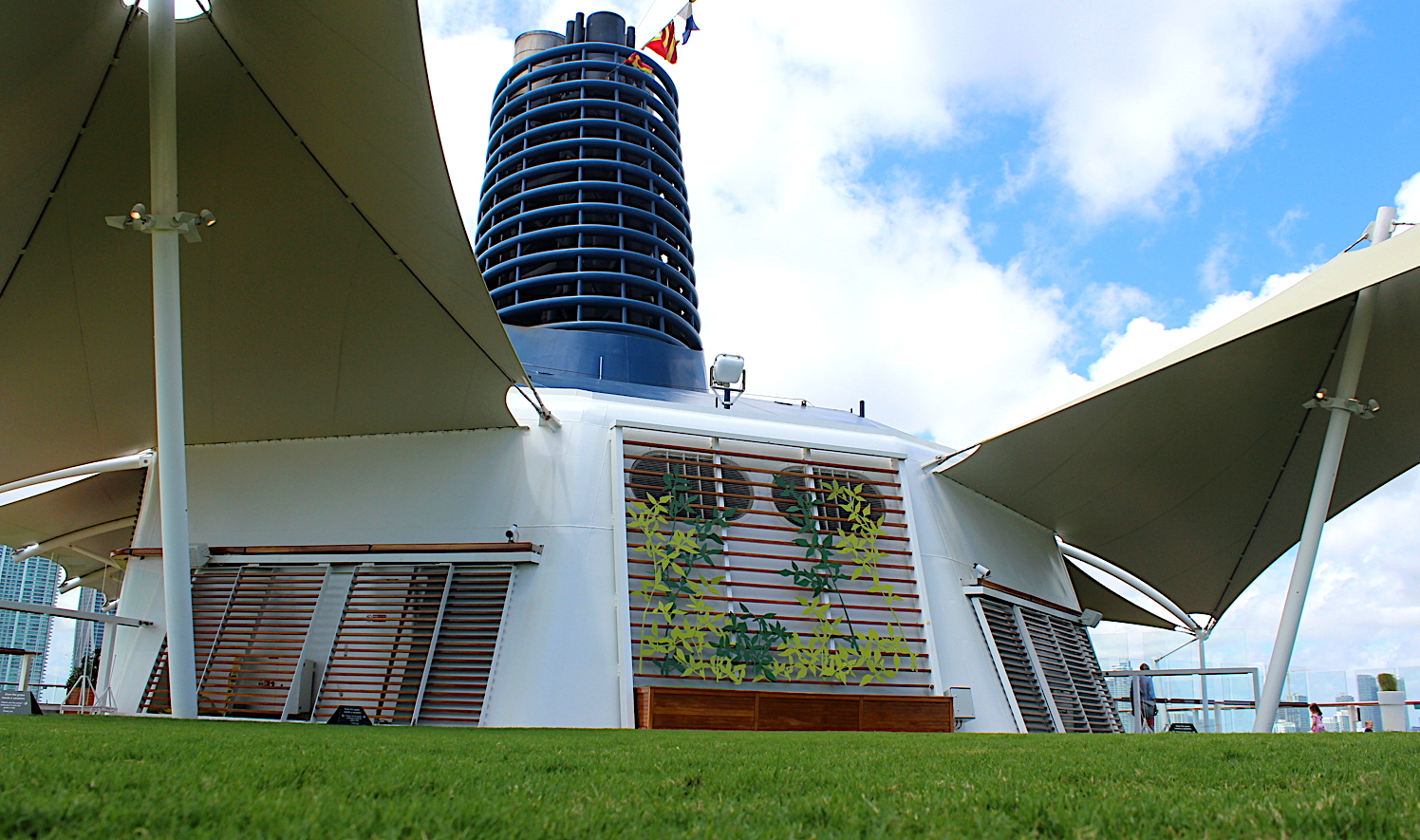 TAKE YOUR SHOES OFF. The Lawn Club on the top deck of Celebrity Equinox has real grass.