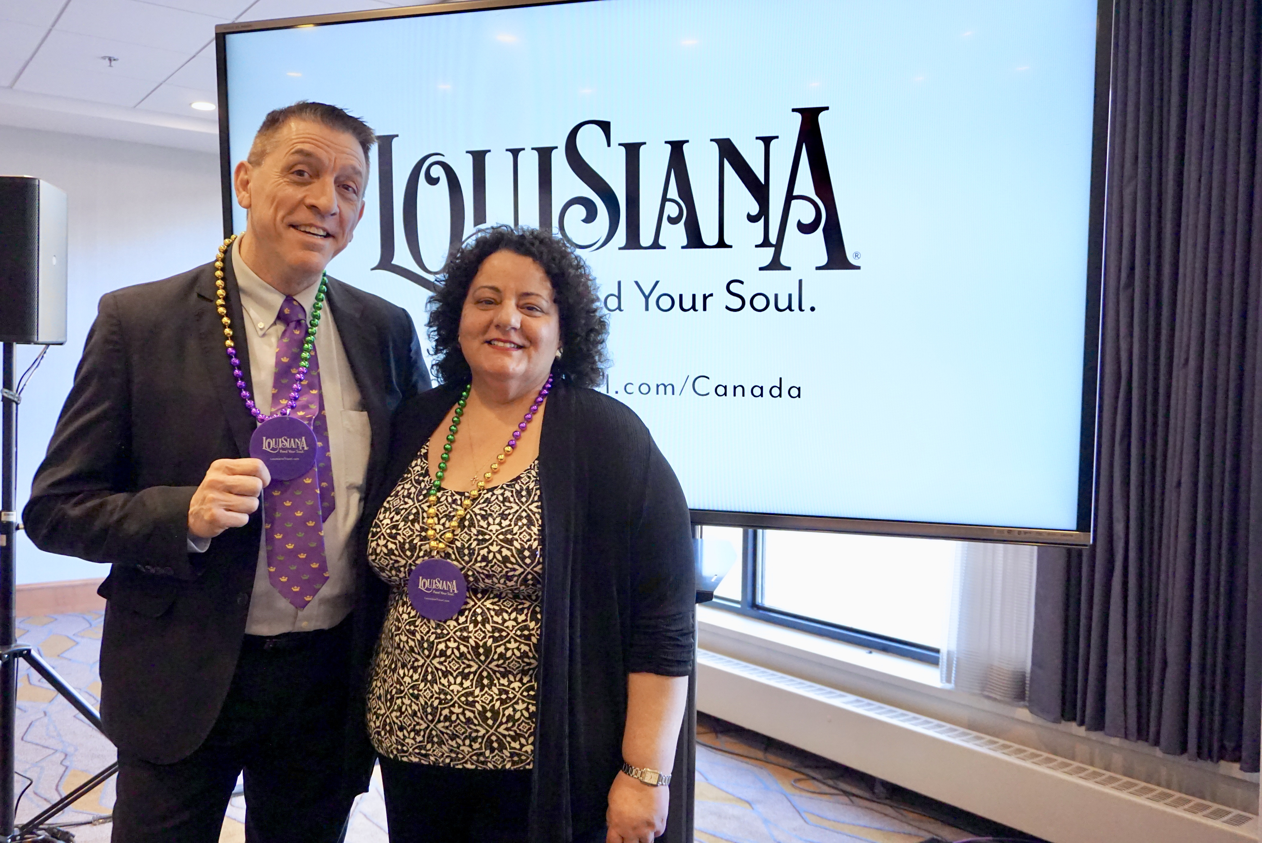 Michael Prejean, international manager, Louisiana Office of Tourism; Joanne Scalamogna, Canadian representative Louisiana Office of Tourism