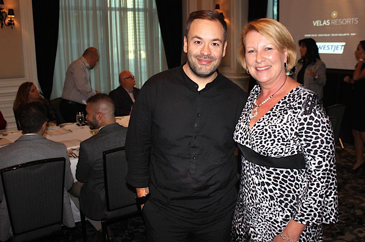 From left (of WestJet): Matthew Djorsev, Barbara Polanco at Toronto's St. Regis Hotel.