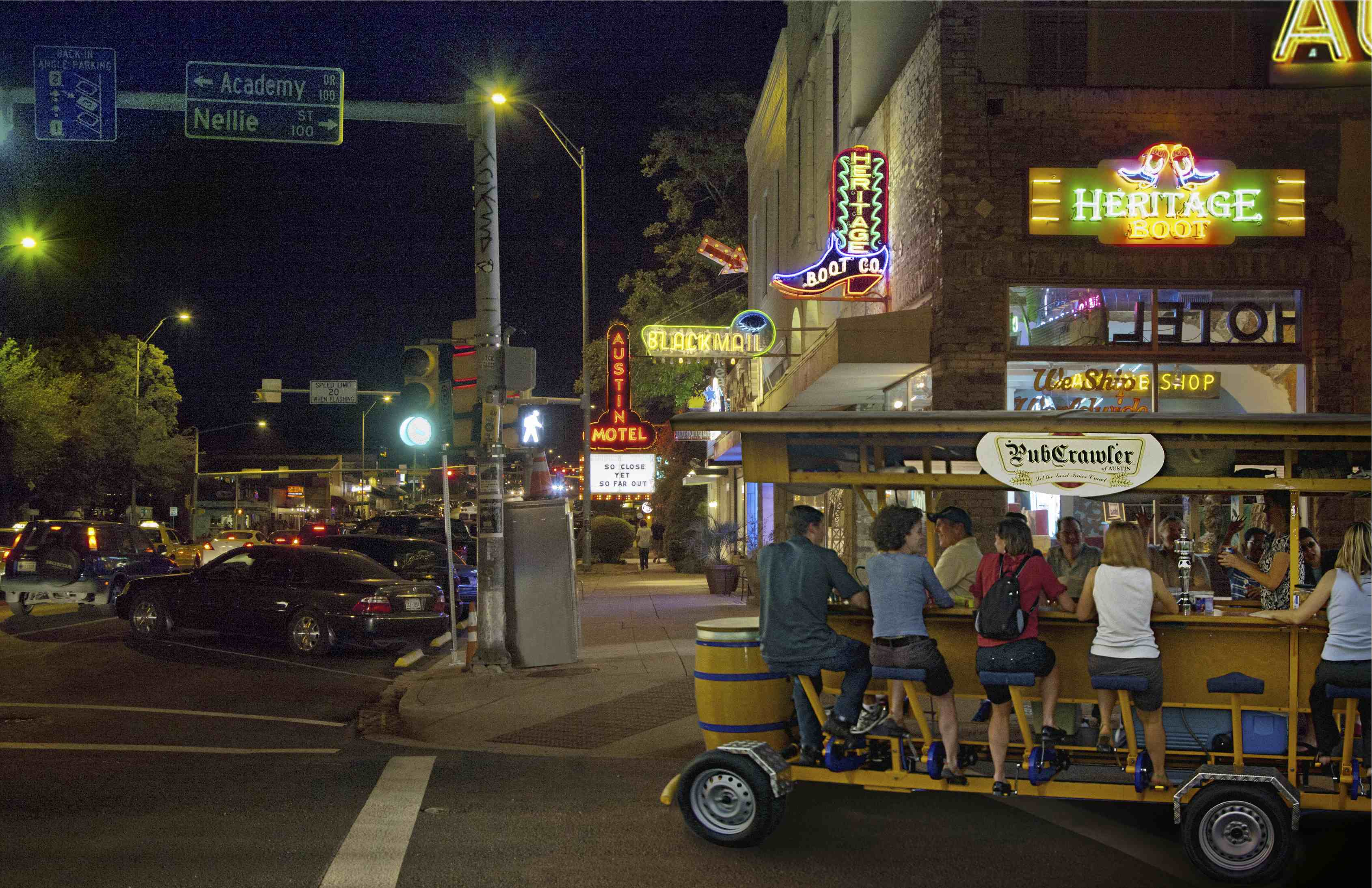 The Pubcrawler party bike in Austin, Texas