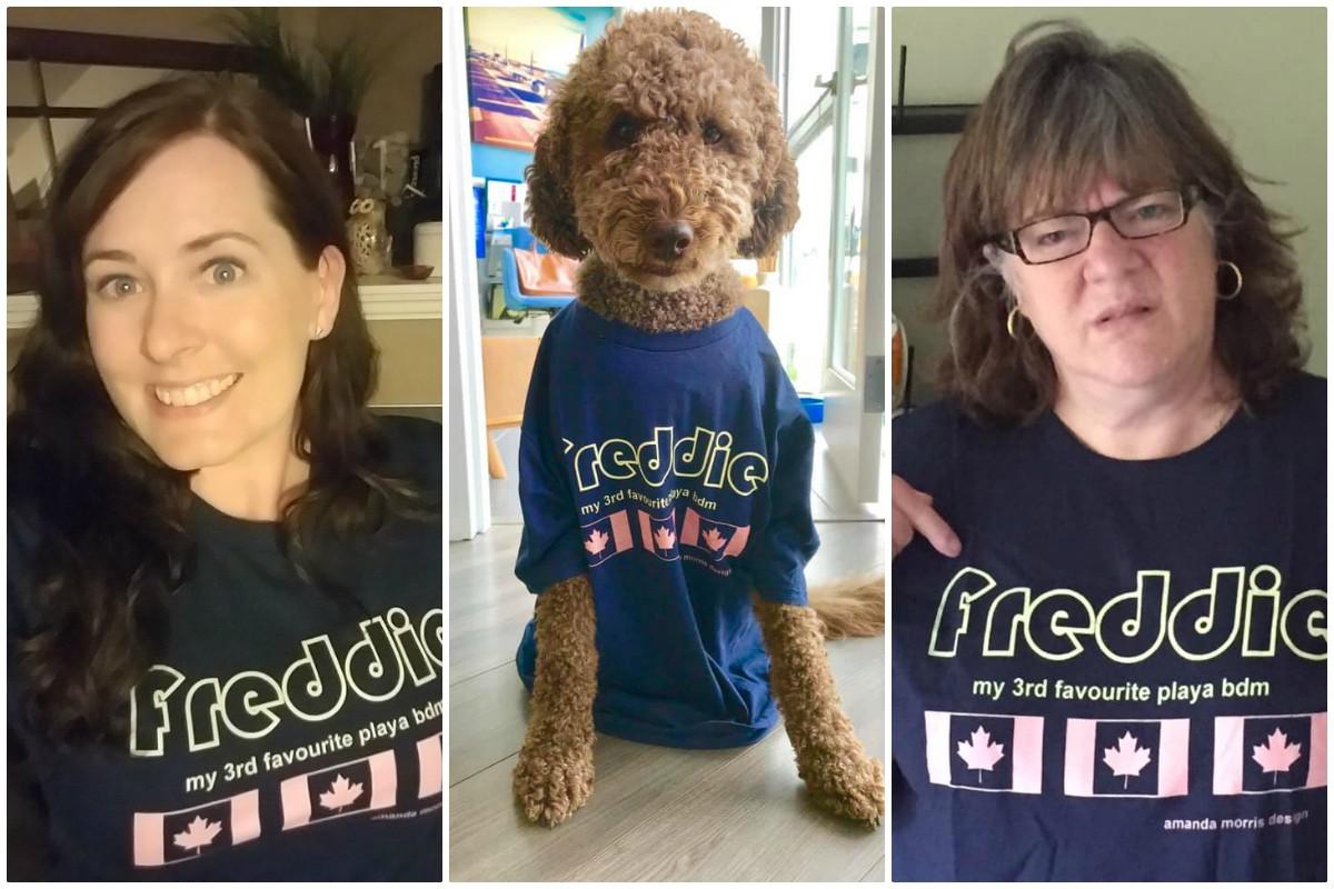 TEAM AMANDA. Transat Holidays' Jen Bradley, Bentley (Royal Caribbean International's Shane Buksh's dog) & Tracy Poole (formally of TravelBrands)
