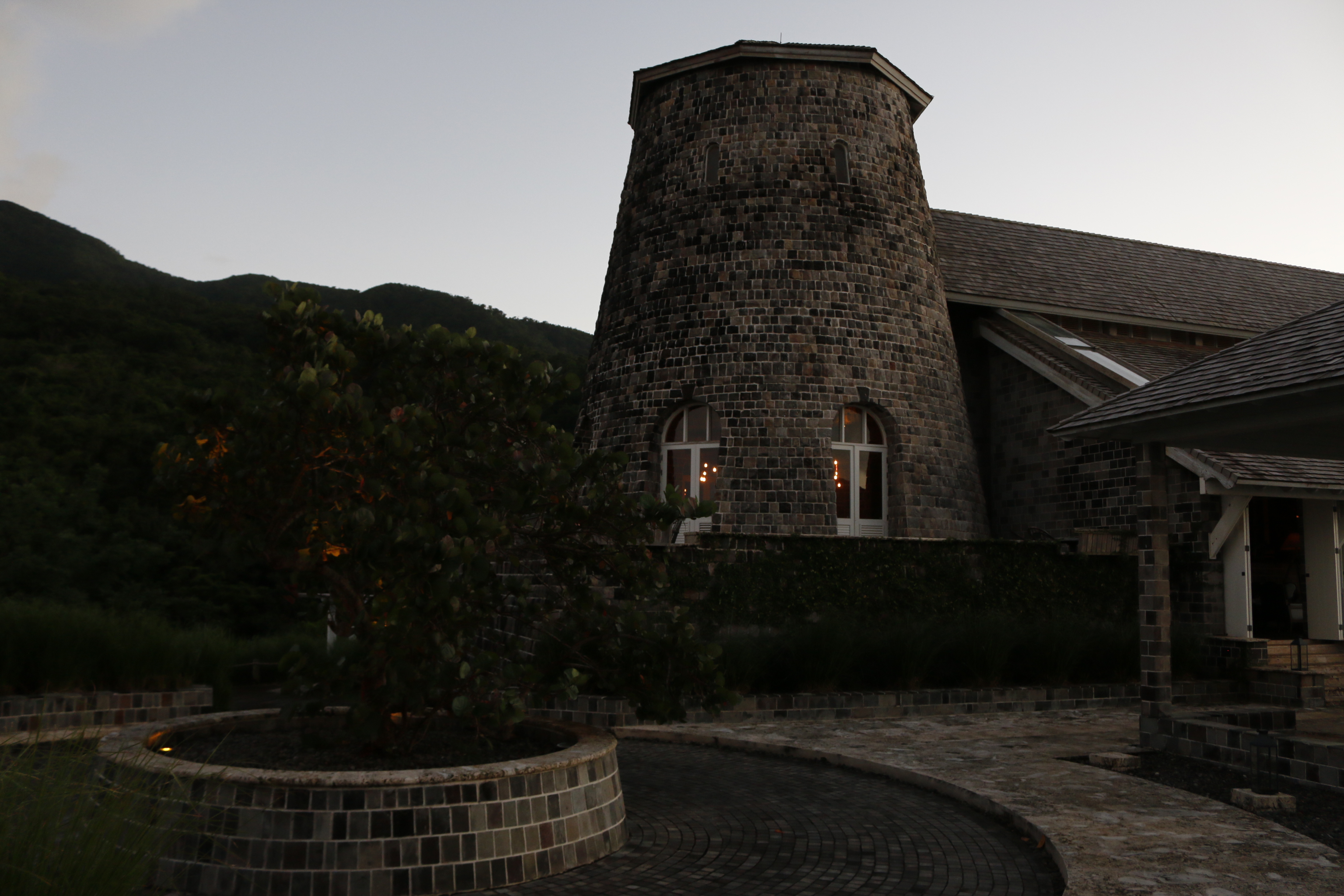 The Mill Bar at Belle Mont Farm is built from an old sugar mill silo.