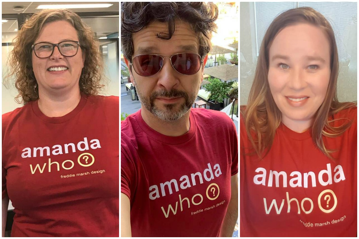 GOING VIRAL. From left: Transat's Nicole Bursey, Norwegian Cruise Line's Derek Lloyd and TravelBrand's Shannon Smith all received amanda who? t-shirts.