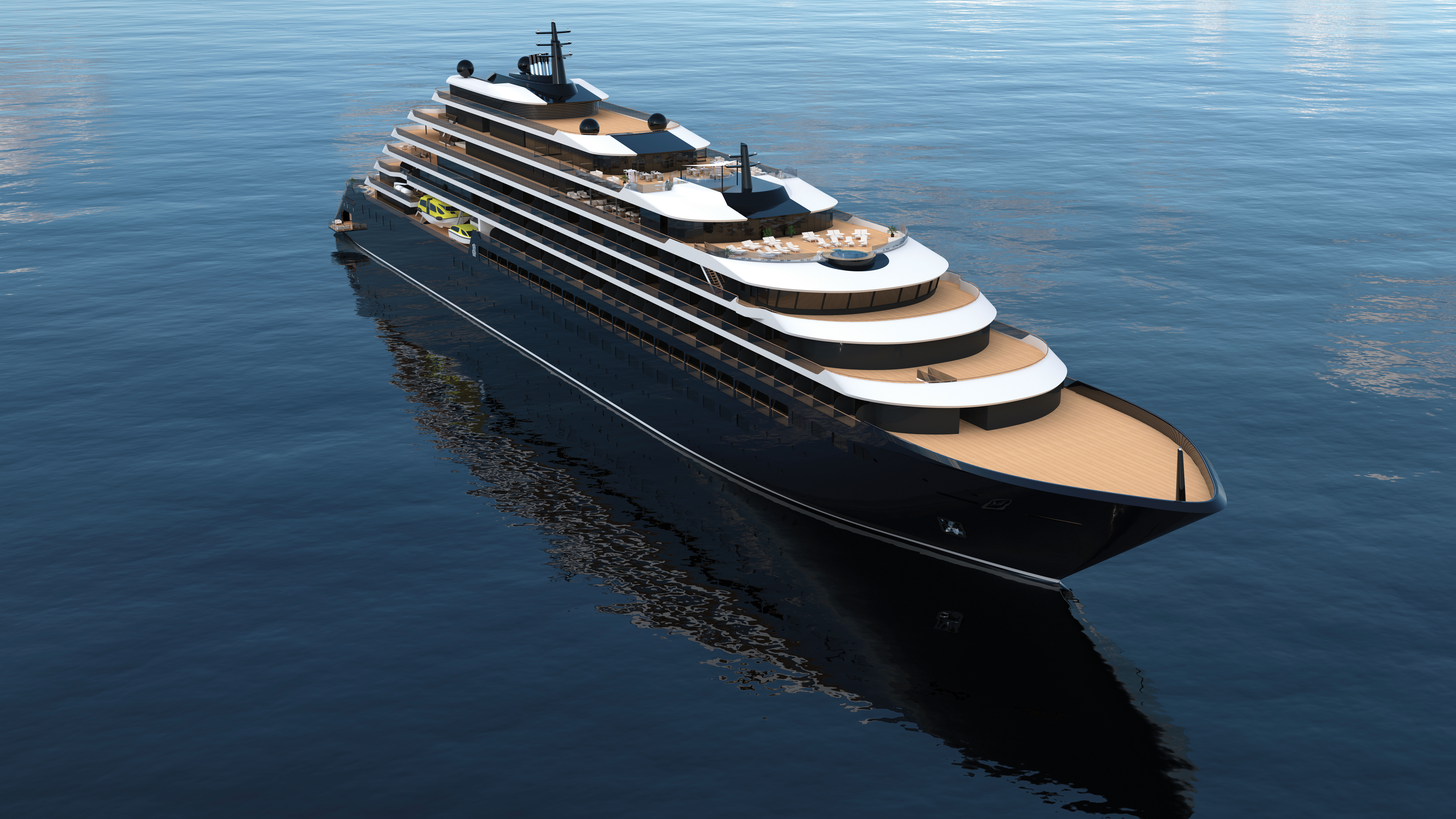 A rendering of the first ship in the Ritz-Carlton Yacht Collection