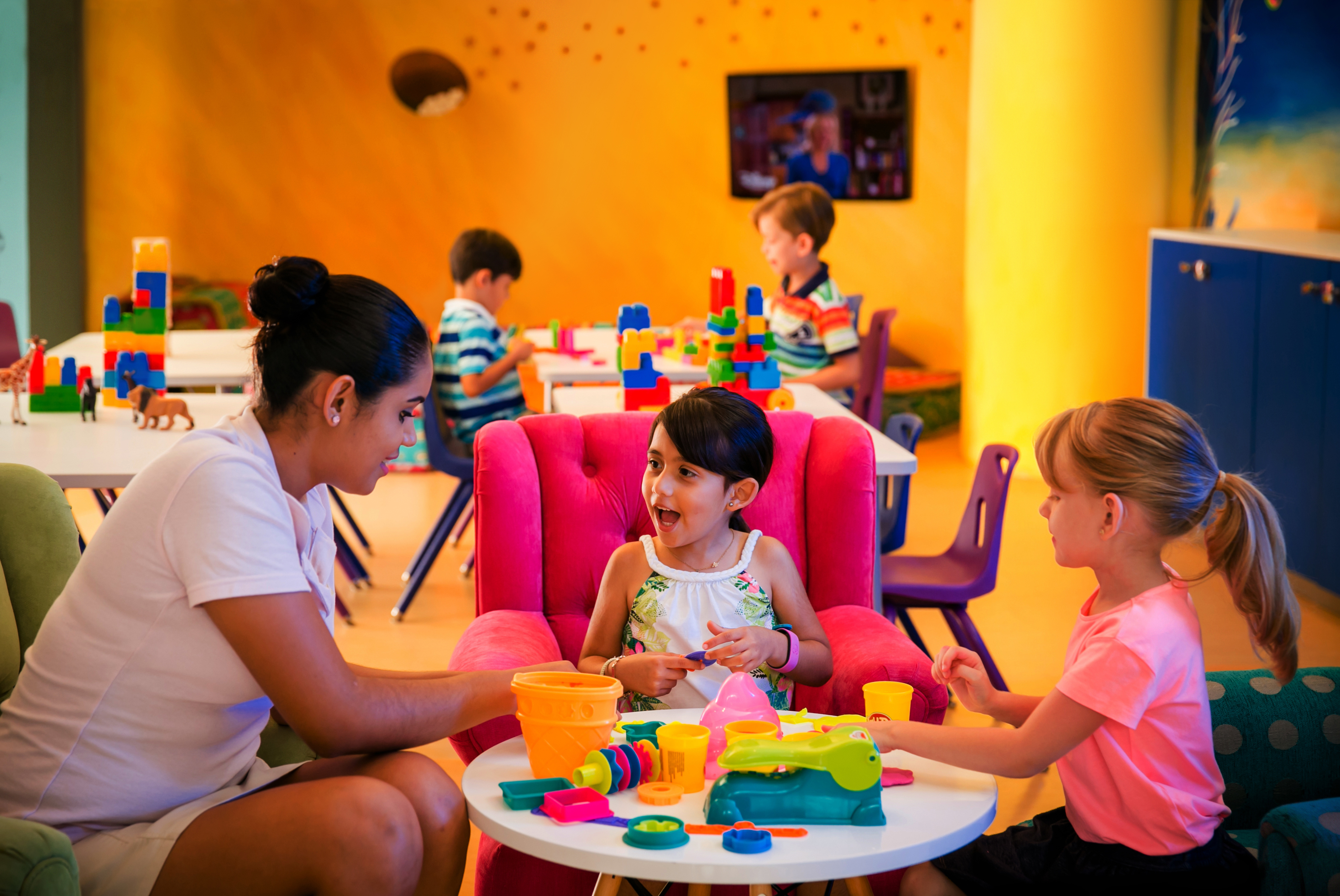 Hotels and resorts that offer childcare services, like the Velas Vallarta, pictured here, are a big hit with families.