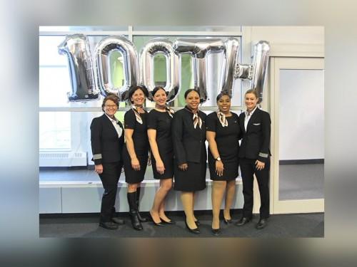 Sunwing's 100th all-female flight celebrates International Women's Day